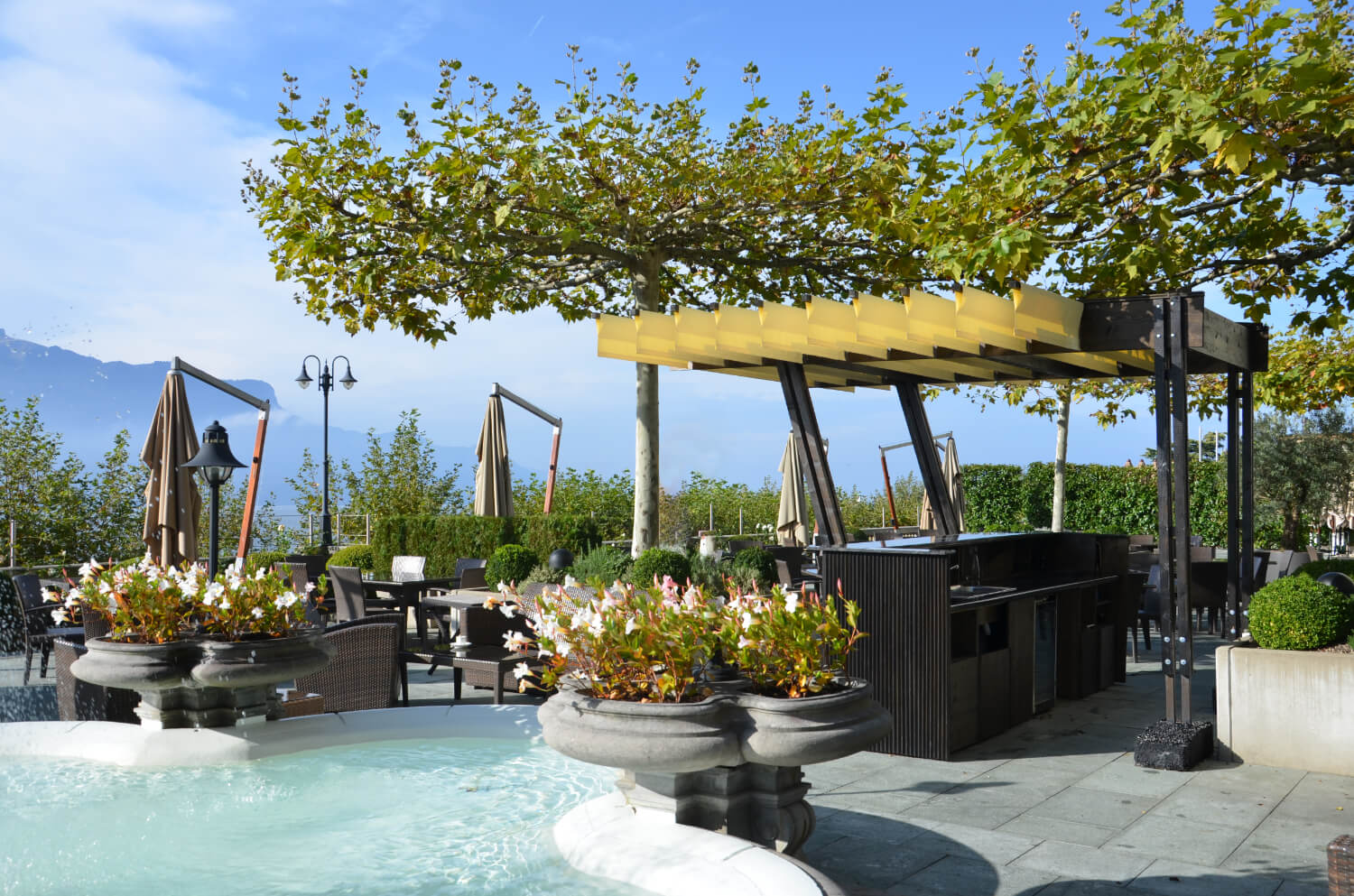 pergola made out of architecture wood for a hotel by authos