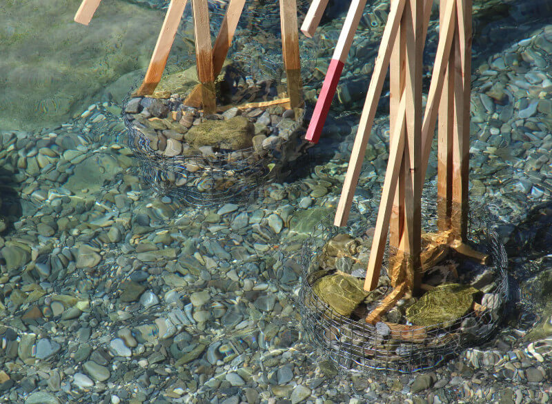 the anchor the the palafitte installation holds thanks to lake stones