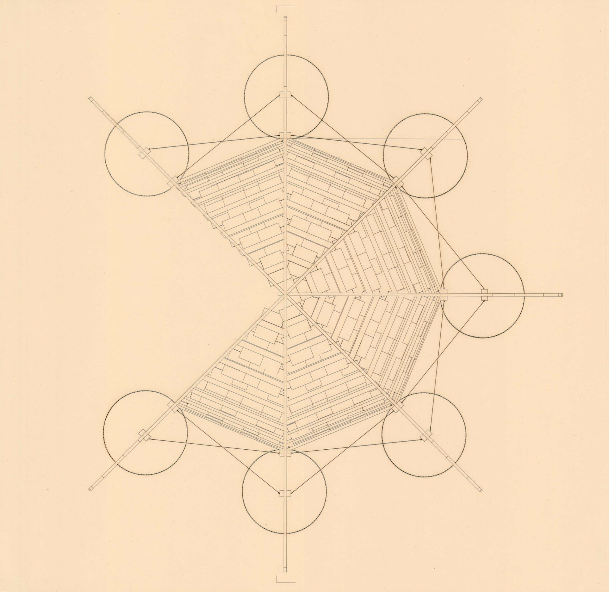the pavilion is drawn on the plans using an octogone to generate the dome