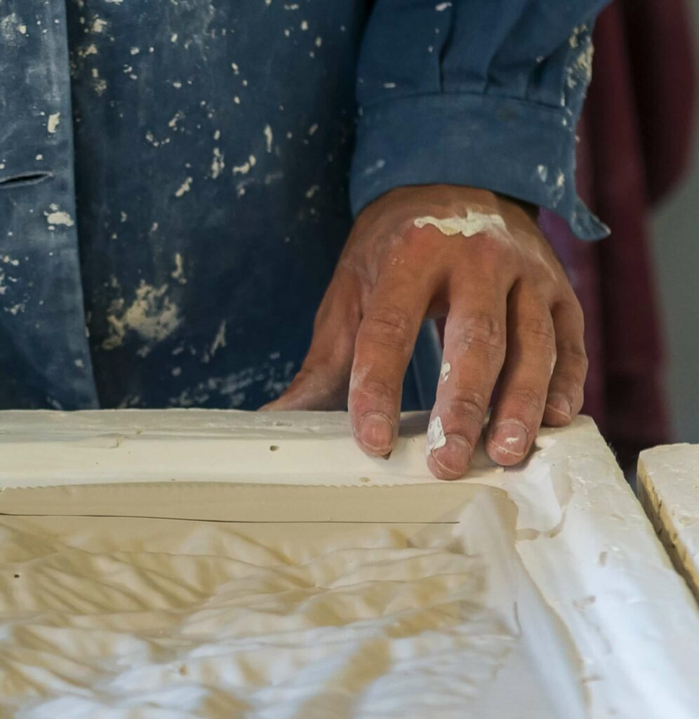 moulding the tiles of porcelain was done by hand