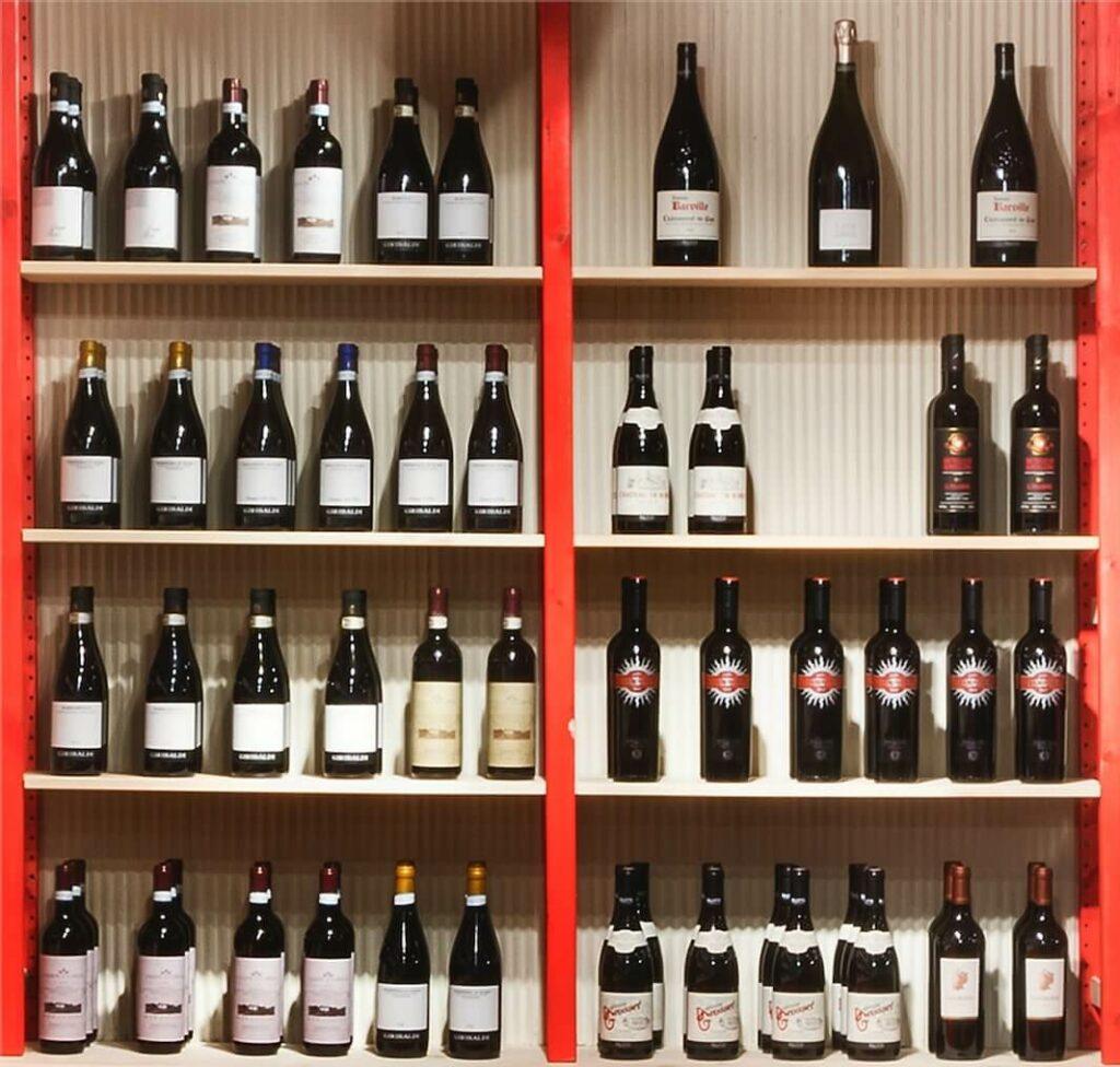 wine shop selection on beige shelf