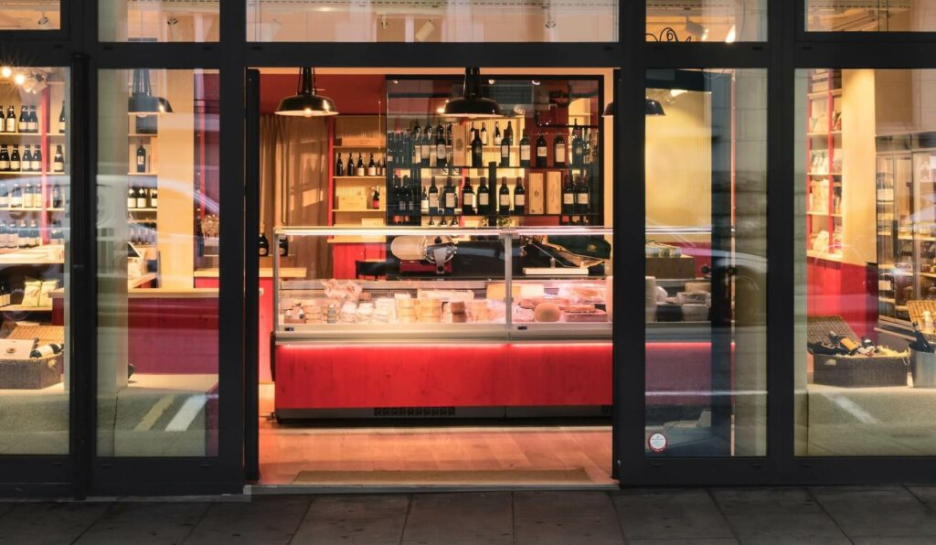 The Geneva shop entrance with cheese fridge
