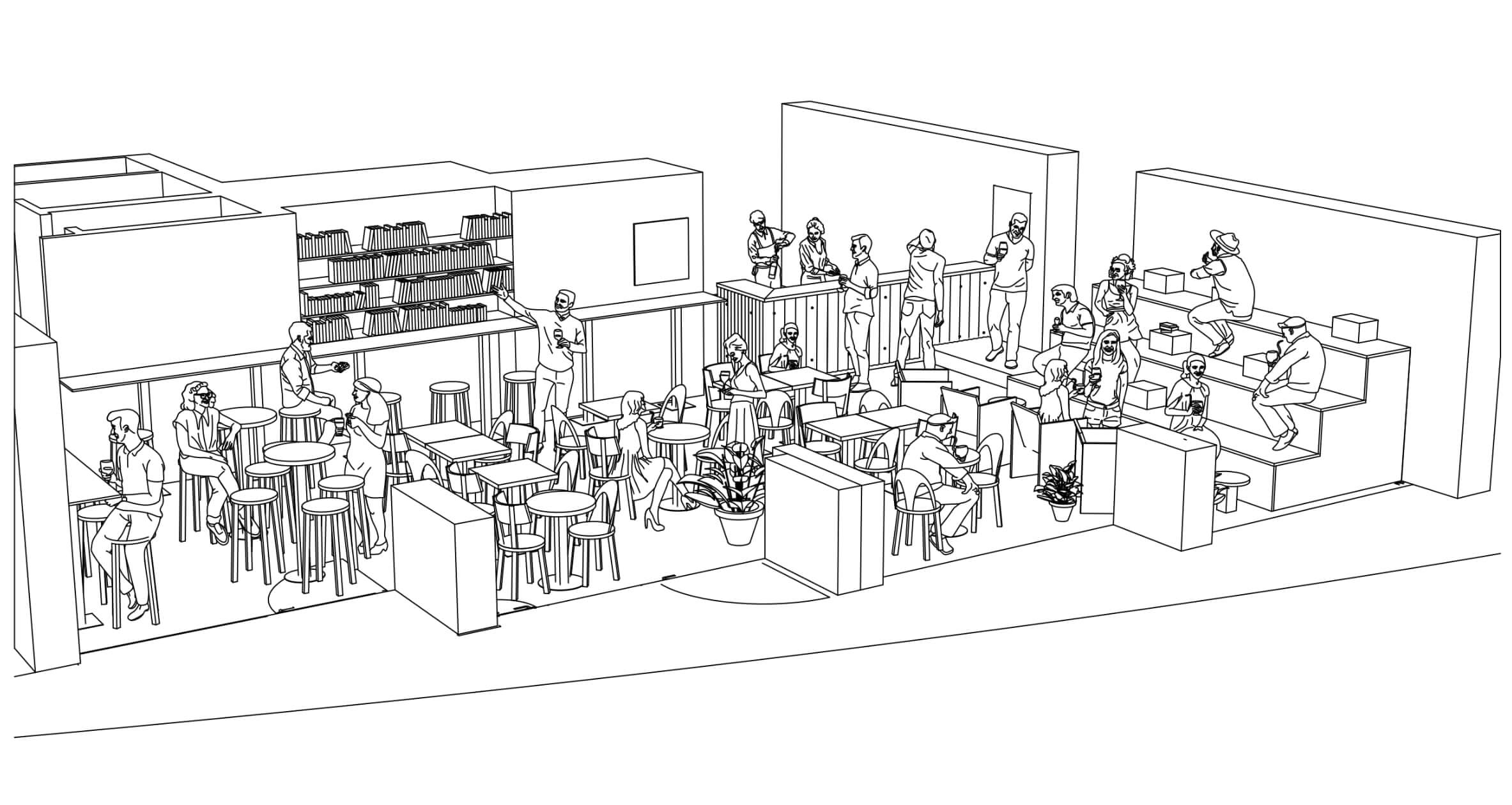 the architecture concept illustration of the Perchoir bar