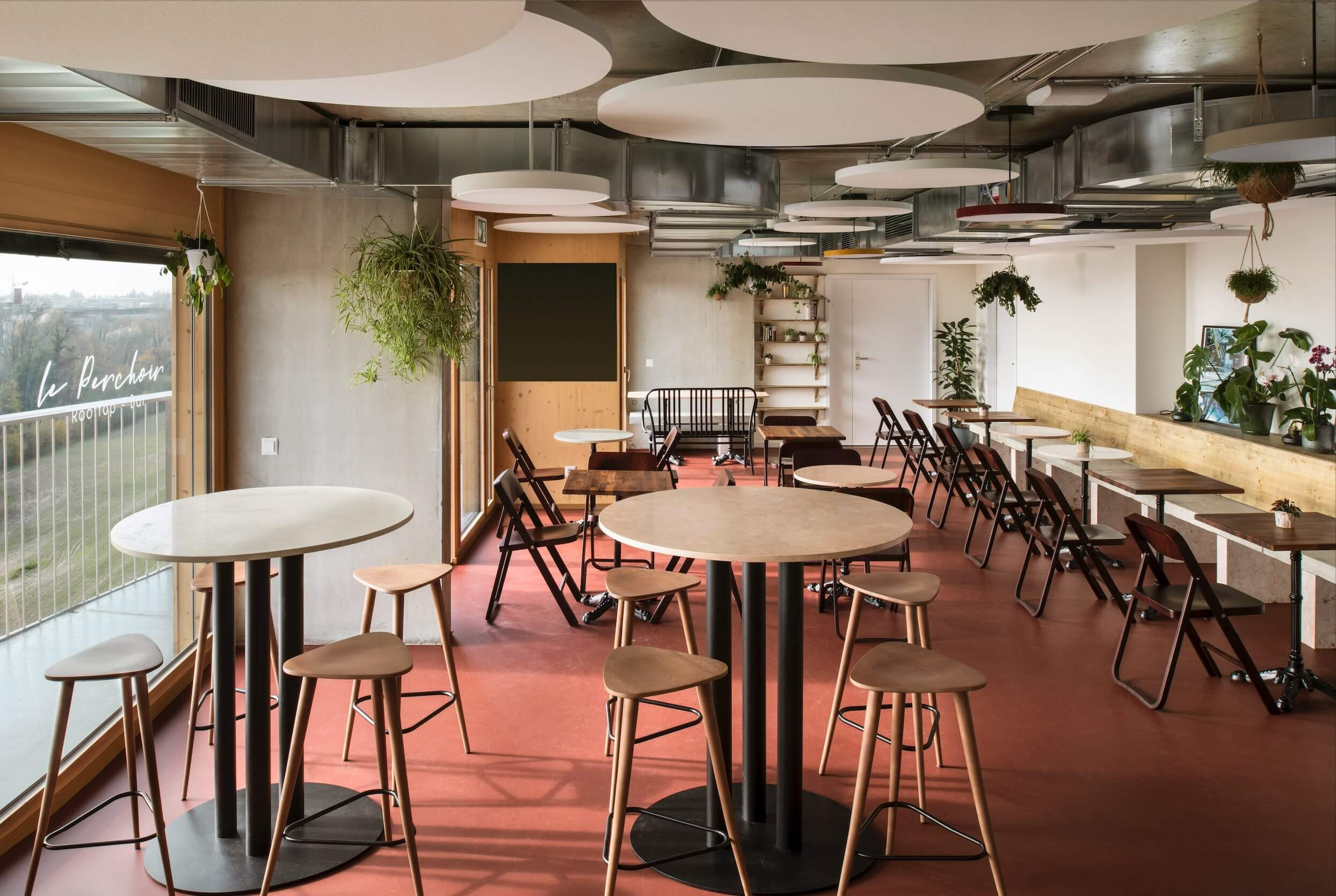 The interior design of the bar for EPFL students
