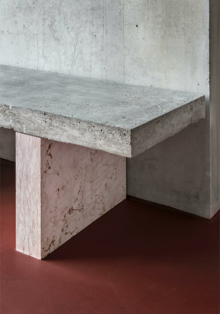 design of a handmade cement and marble bench