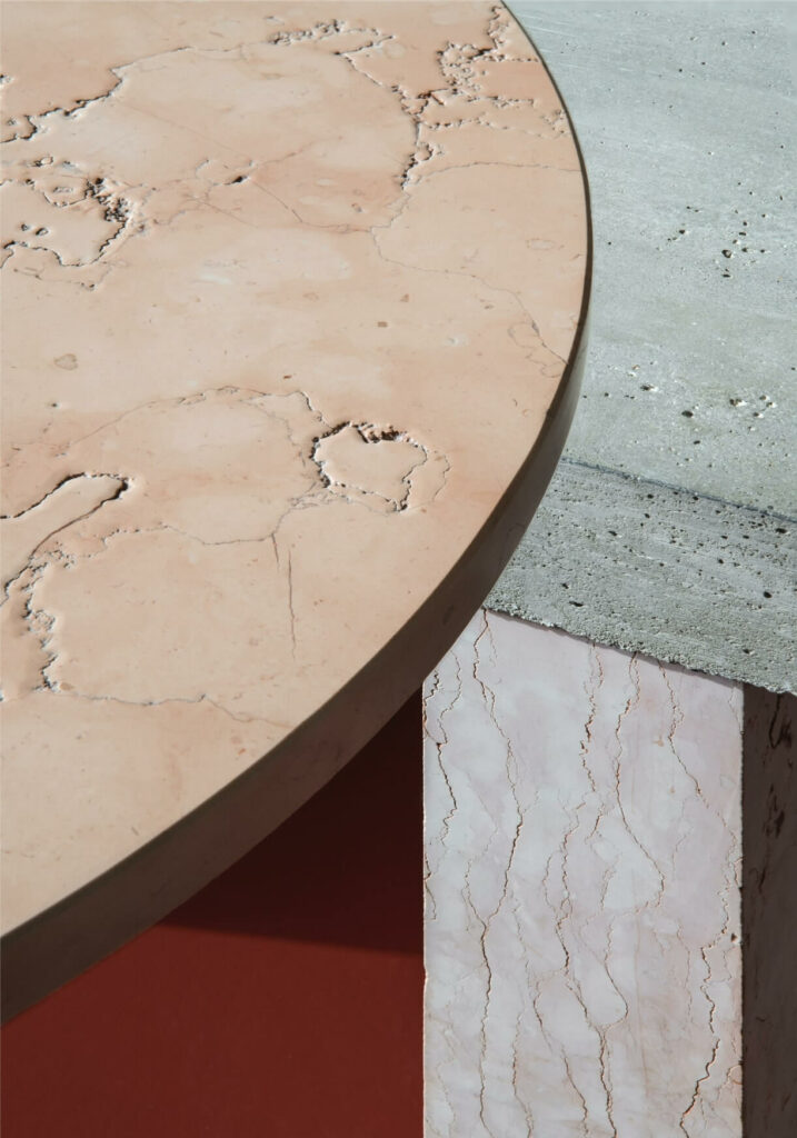 The combination of cement and stone materiality with different colors