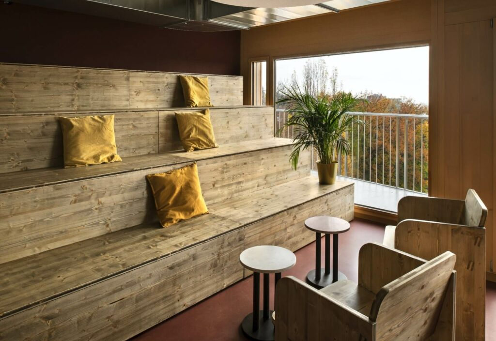 two handmade bleachers are designed for the bar view