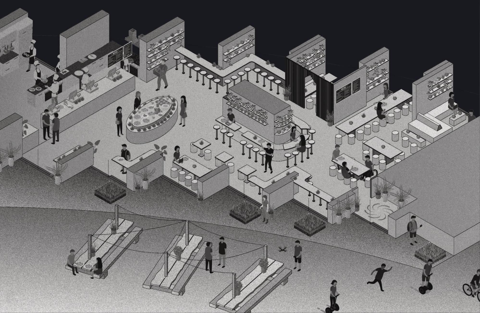 the architecture illustration of a restaurant explains the concept design