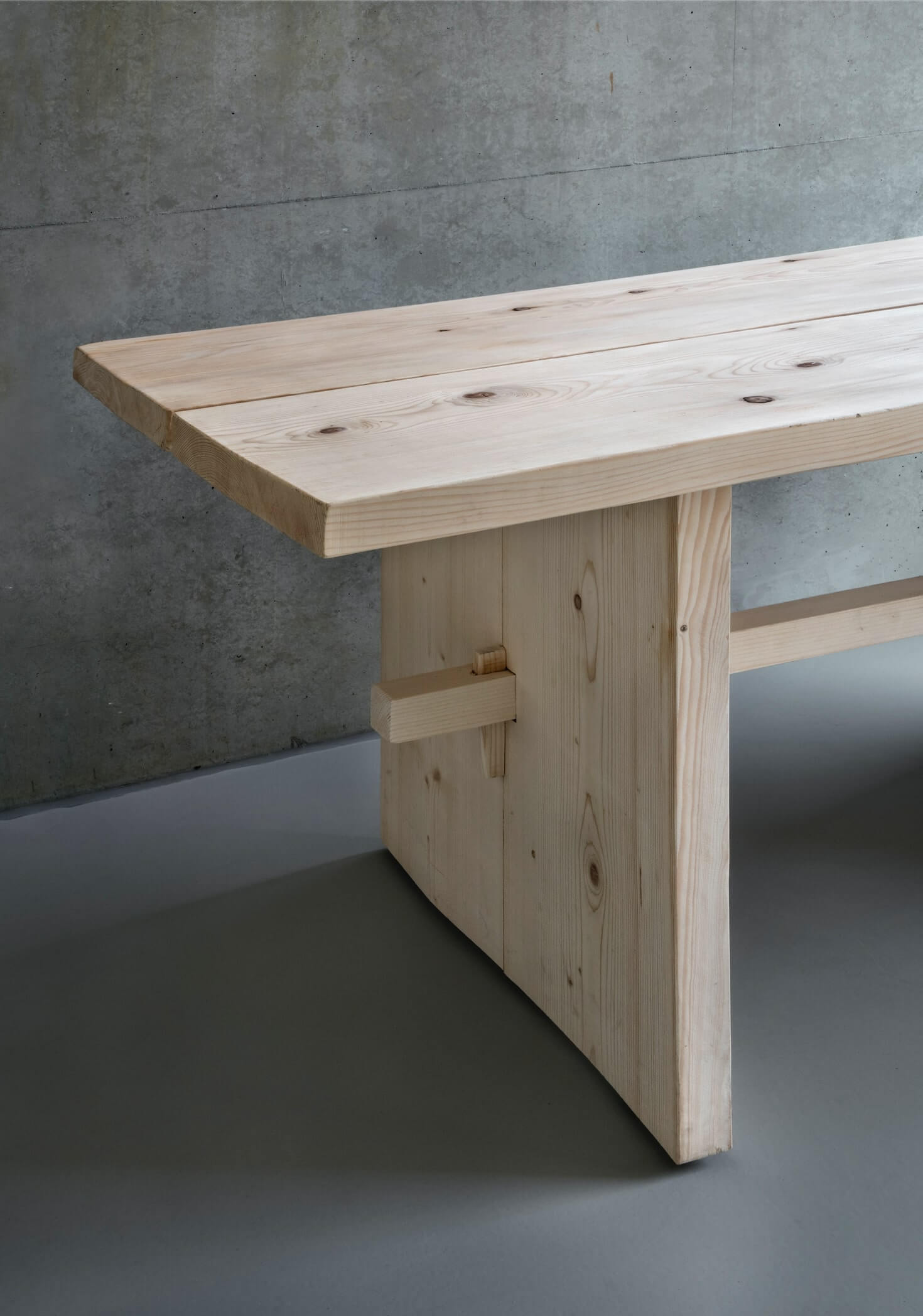 the legs of the design table are made with wood