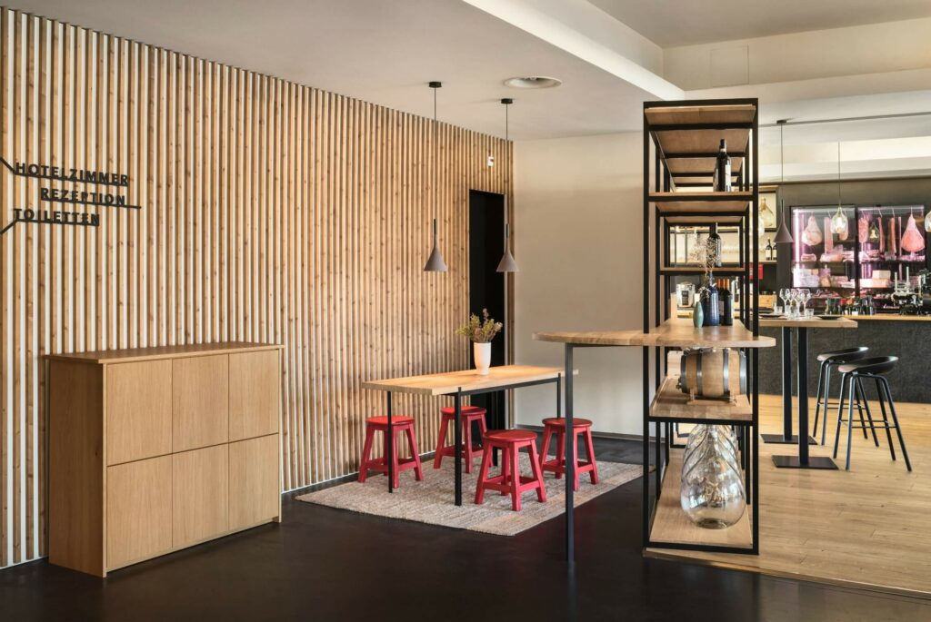 the beautiful reception integrates hospitality and architecture into one design