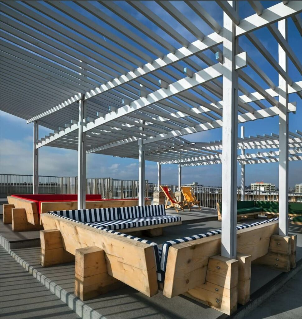 The pergola creates an open space for the students to gather
