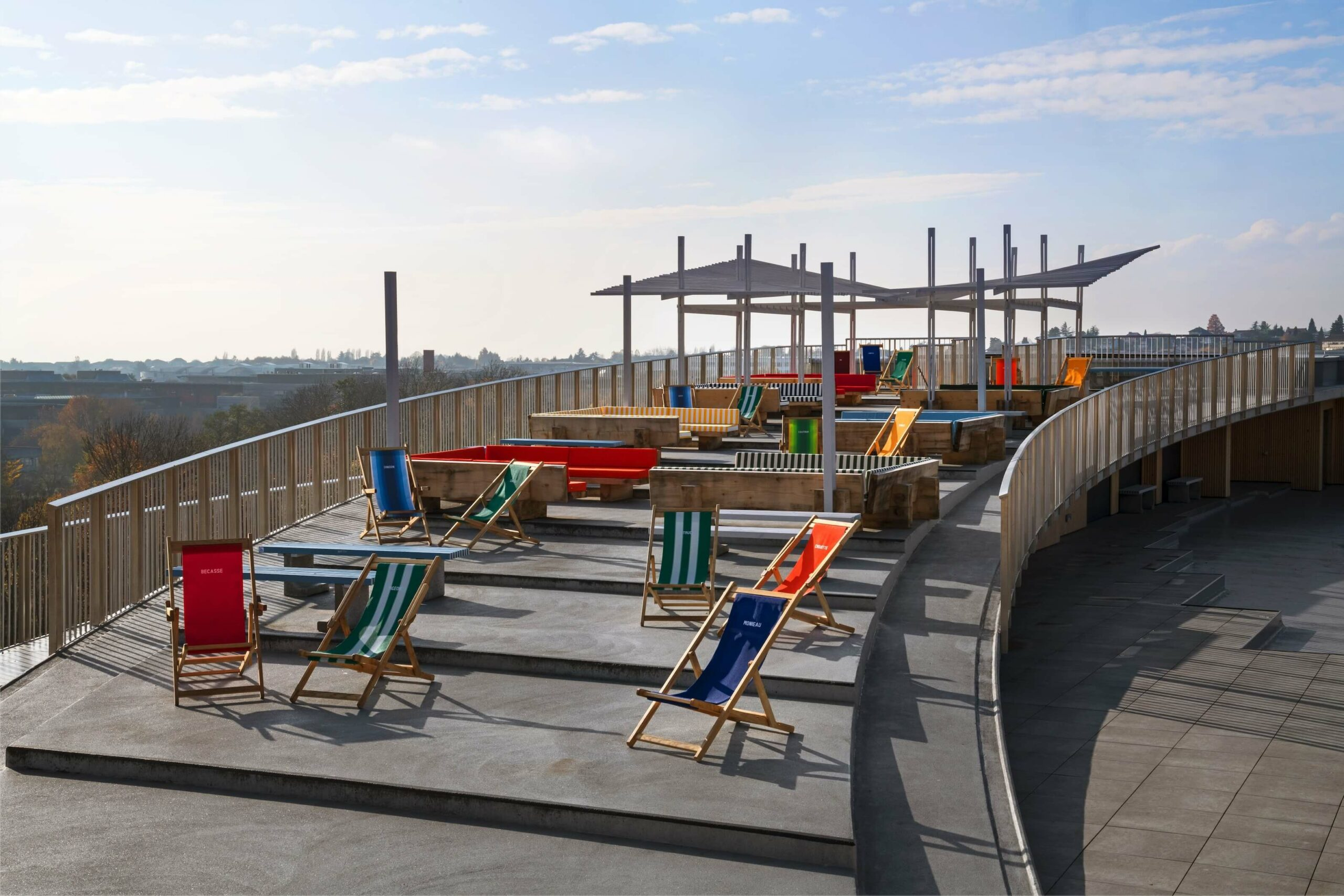 the rooftop is designed to be a bar with an architecture pergola