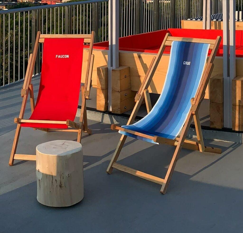 Each custom deck chair has its now bird name