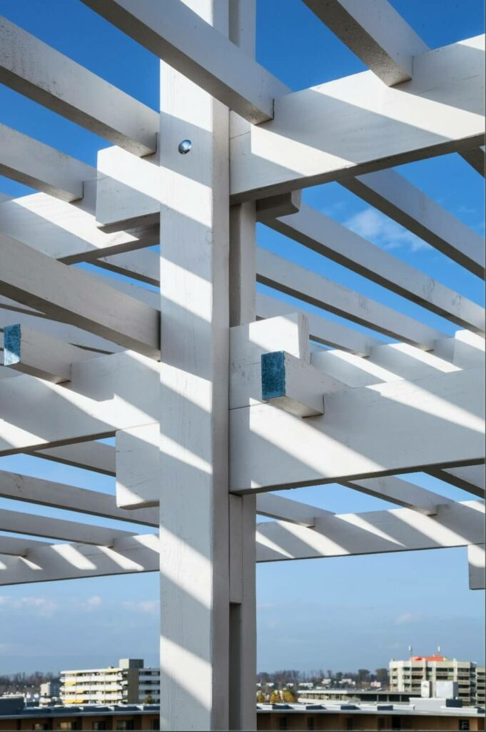the pergola has important detail of wood connexion and joints