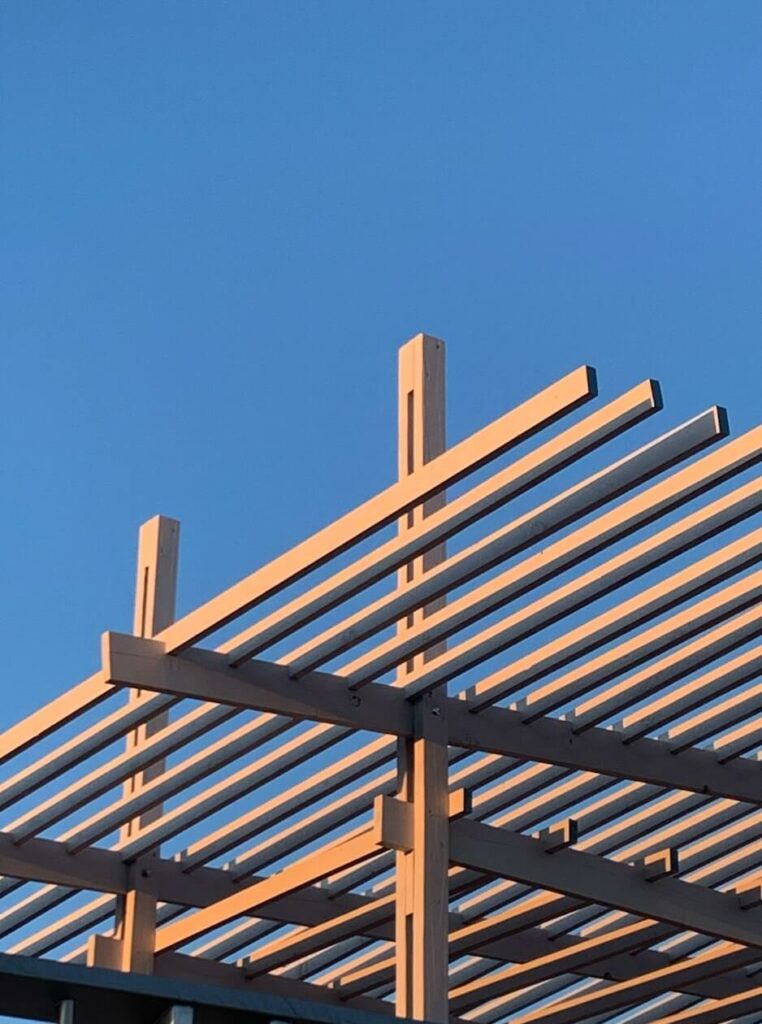 the architecture structure of the pergola is about to fly in the sky