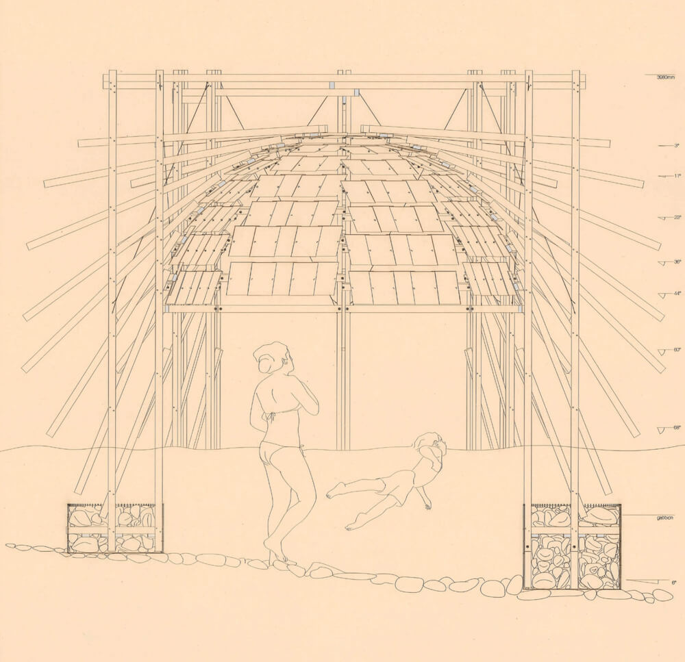 the section of the water pavilion explains the structure